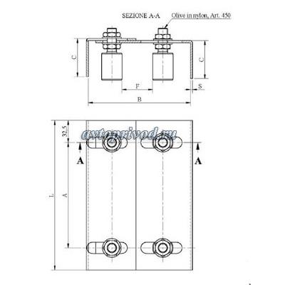 Фиксирующая скоба с роликами - comunello (до 600кг.)
